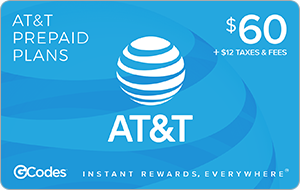 Buy GCodes® AT&T Prepaid Plan - $60 + $12 Taxes & Fees Gift