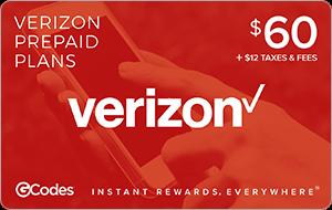 Buy GCodes® Verizon Prepaid Plan $60 + $12 Taxes & Fee ...