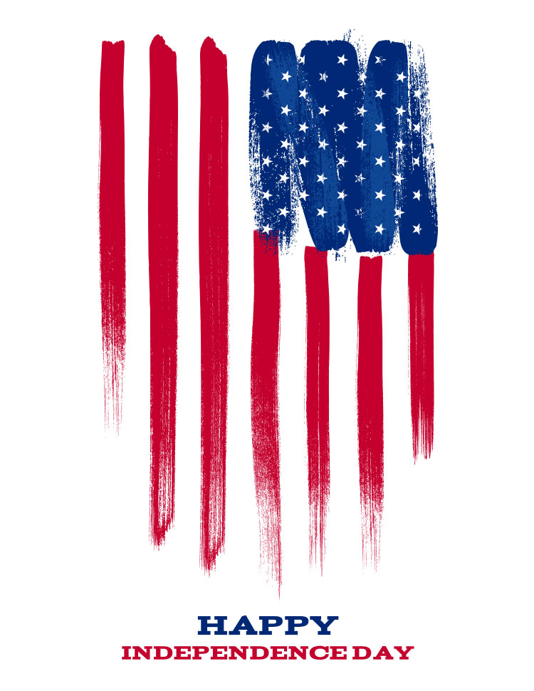 Painted American Flag, White Background, Happy Ind
