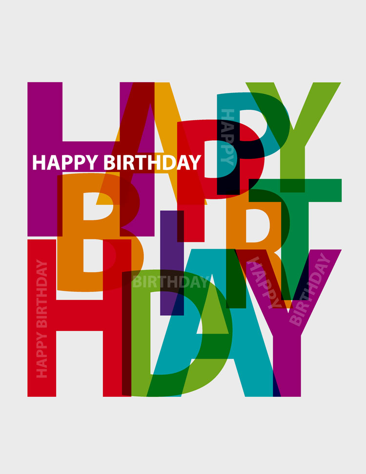 Colorful Happy Birthday Letters Overlapping One Another On A Grey Background