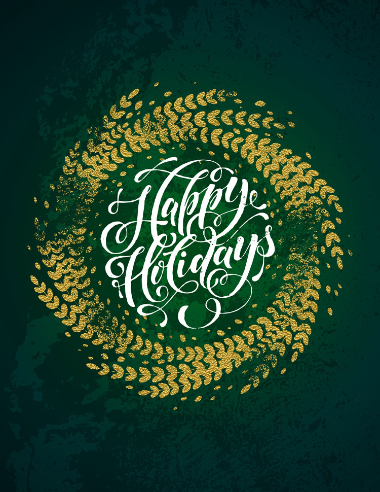 Happy Holidays In A Gold Circle On A Green Backgro