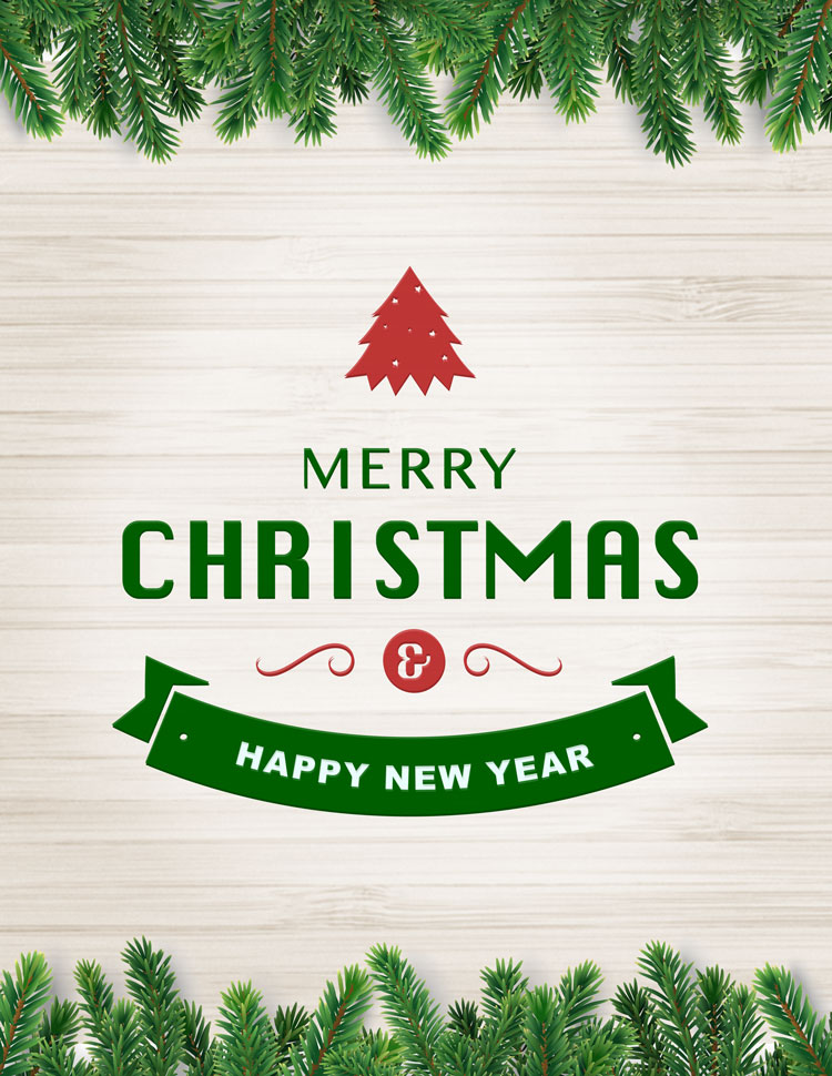Merry Christmas And Happy New Year In Green With P
