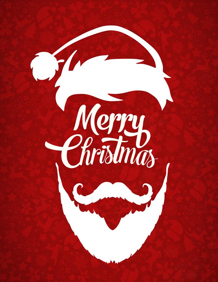 Merry Christmas Written Inside A Santa Face On A R