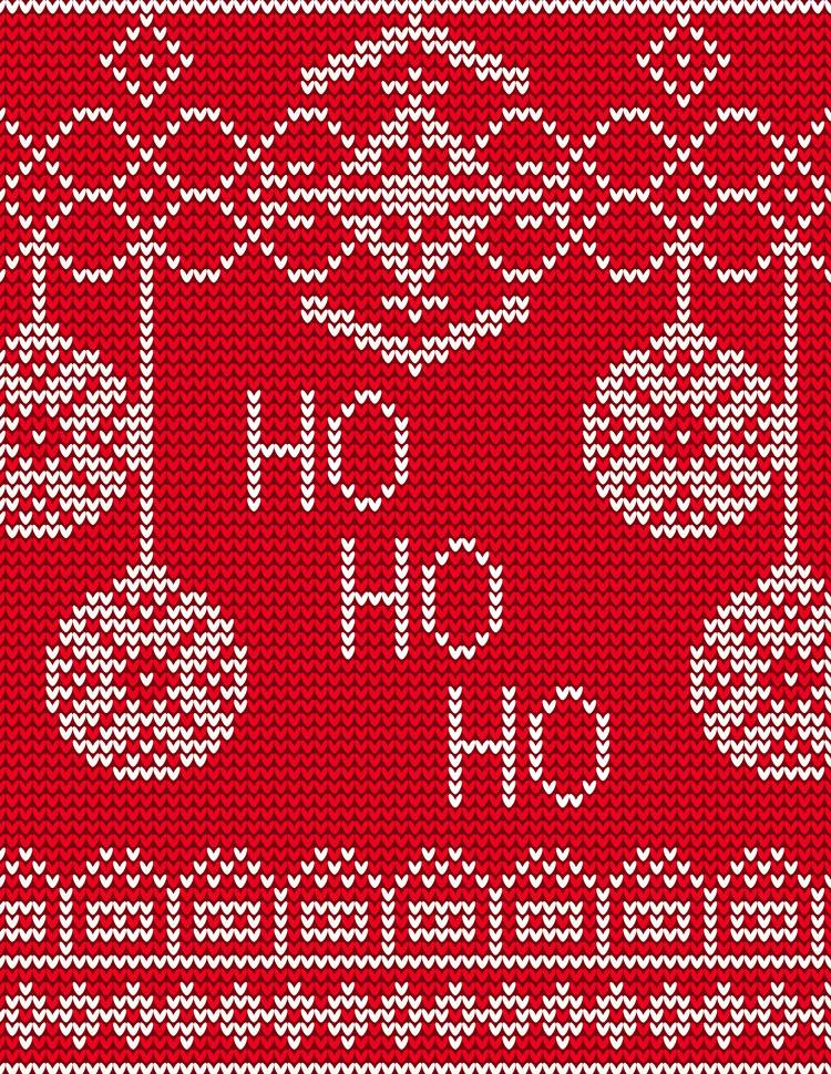Ho Ho Ho Written In A Red Ugly Sweater Pattern