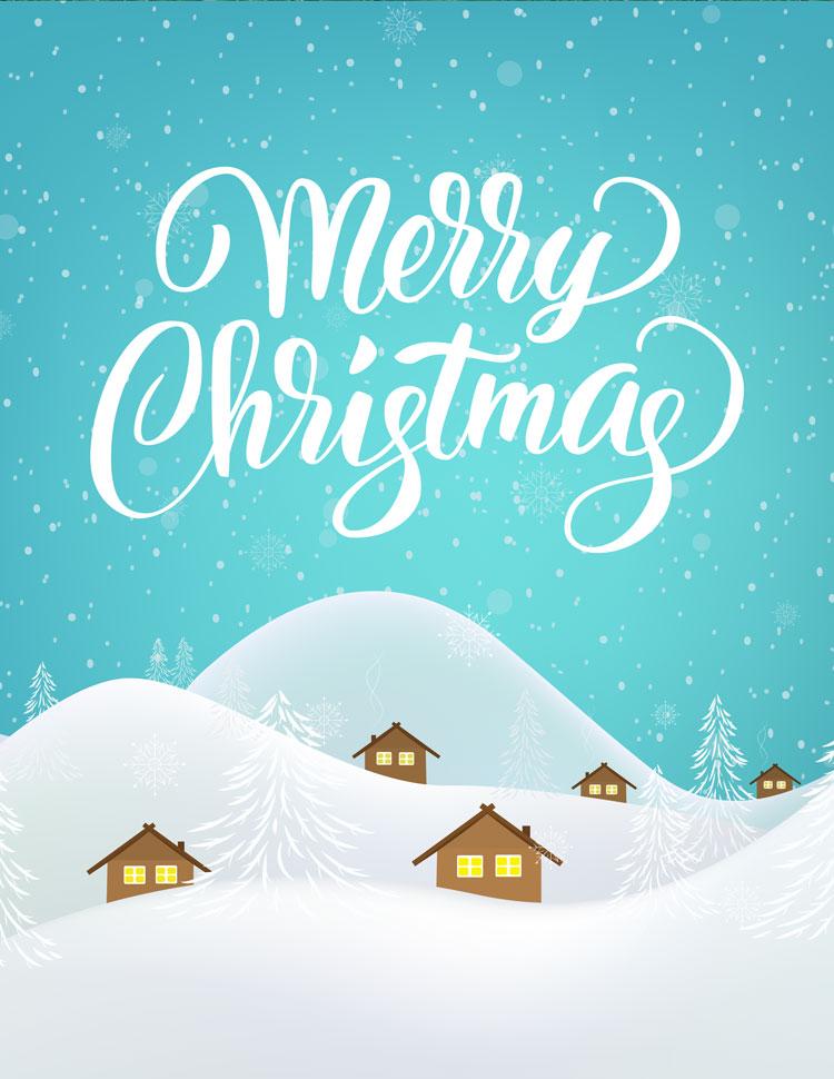 Merry Christmas Winter Village Scene