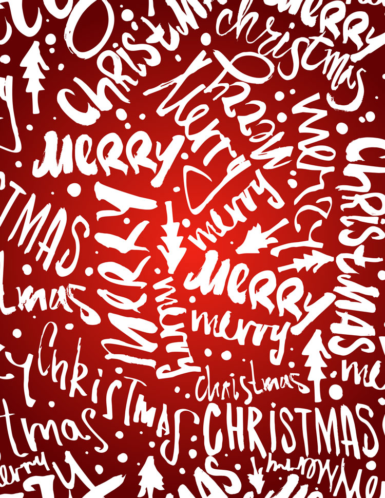 Merry Christmas Handwritten Words Pattern On A Red