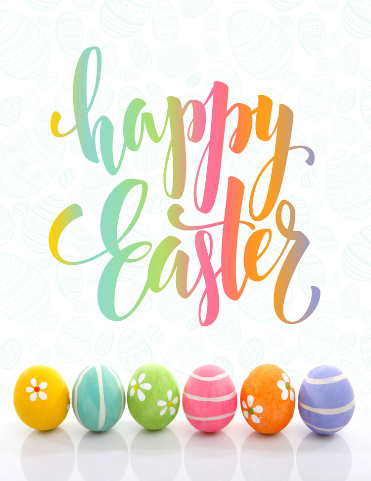 Colorful Happy Easter Eggs On A White Background