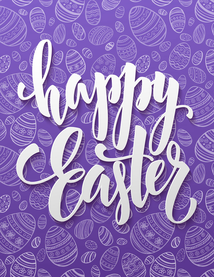 Happy Easter Script On A Purple Egg Pattern Backgr
