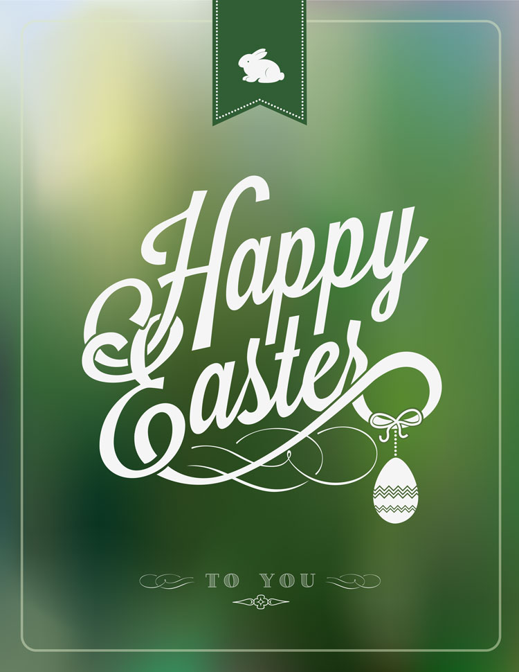 Happy Easter Script On A Green Spring Background