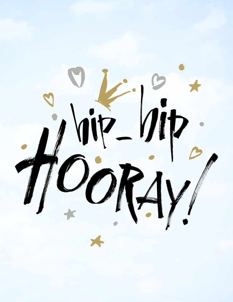 Hip Hip Hooray Handwritten With Stars And A Crown