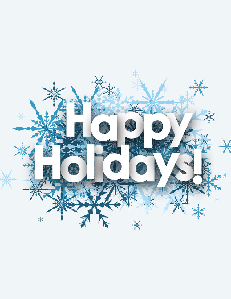 Happy Holidays Cutout Letters On Snow Flakes On A Blue Background