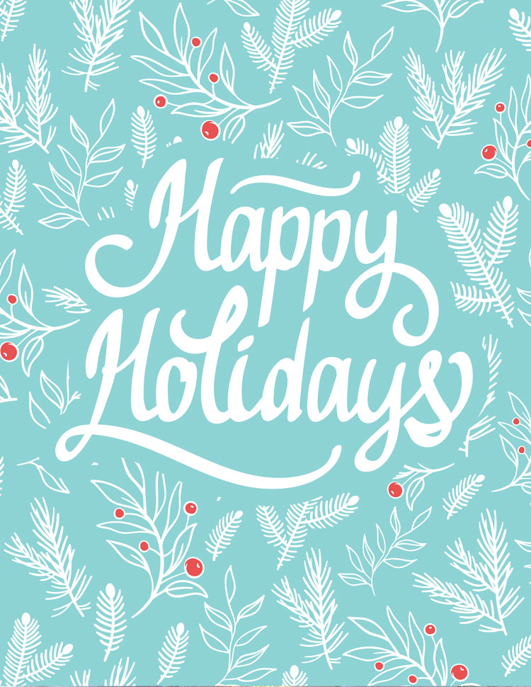 Happy Holidays Holly Design On A Blue Background