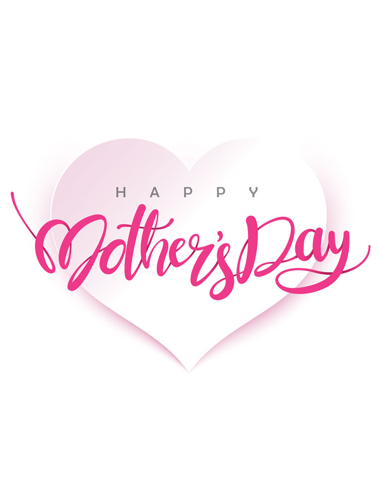 Pink Happy Mothers Day Heart On A White Background