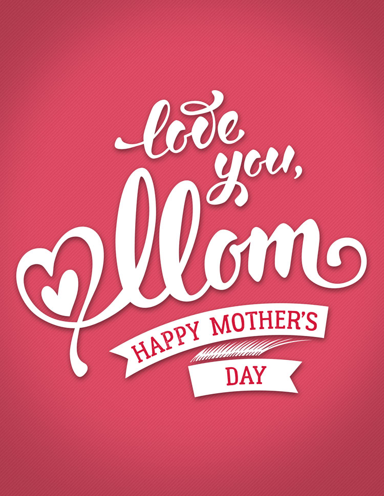 Love You Mom Script On A Red Background