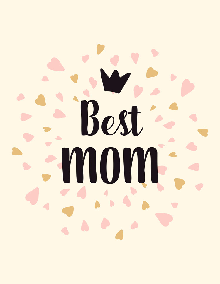 Best Mom Crown With Many Pink Hearts On A Yellow Background