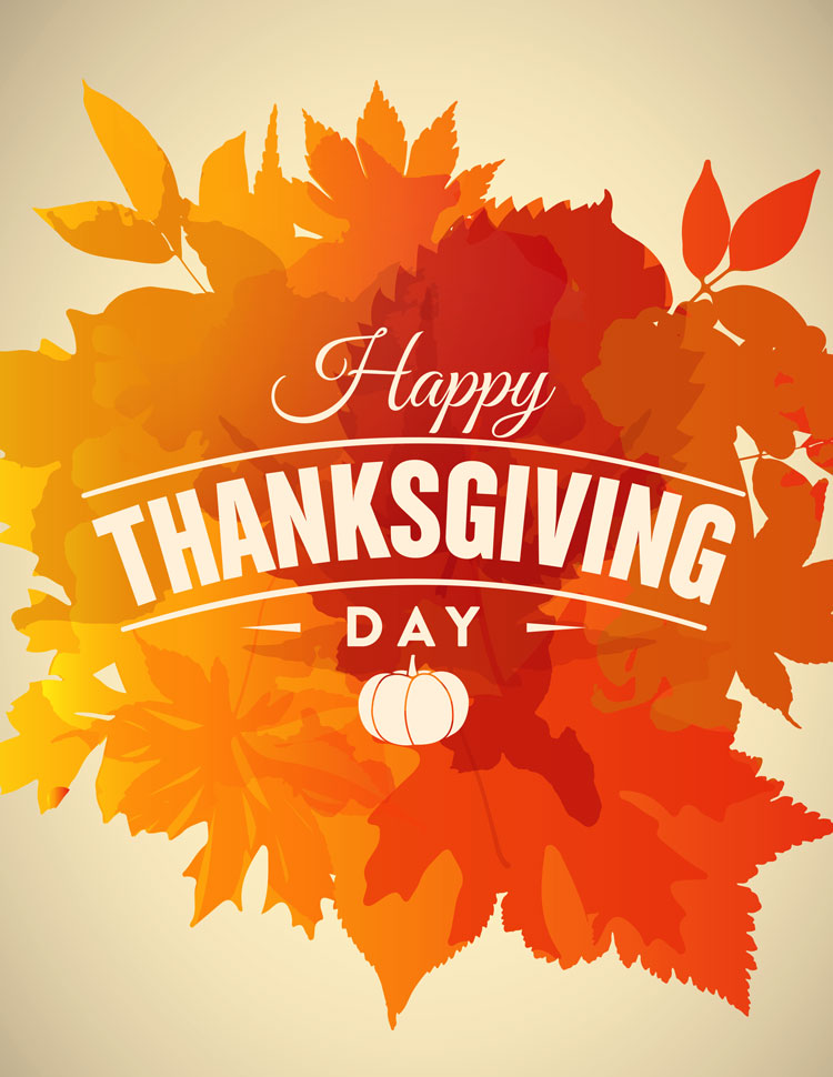 Happy Thanksgiving Day Design On Colorful Autumn L