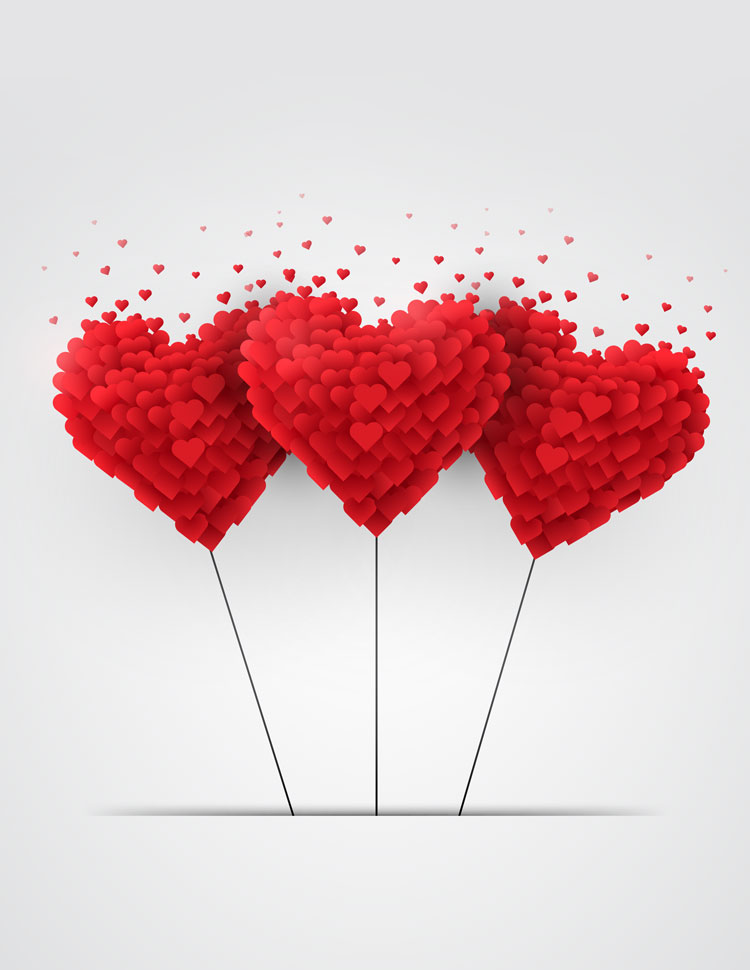 Three Heart Balloons Made Of Little Red Hearts On